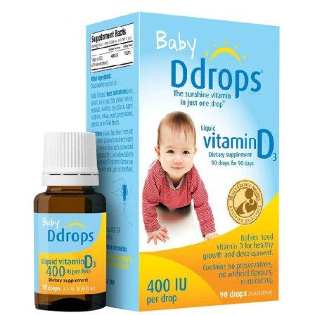 Ddrops baby婴幼儿童宝宝维生素D3滴剂 0岁以上 2.5ml 90滴 400IU