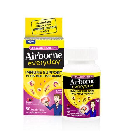 Schiff Airborne艾维复合维生素咀嚼片莓果味50粒 提高免疫力