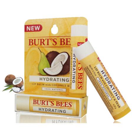 唇膏 Burt's Bees小蜜蜂美国进口唇部天然滋润护唇 男女士润唇膏非唇彩口红 椰子梨味