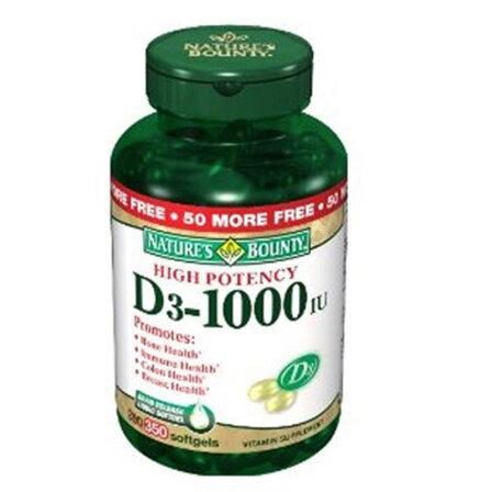 自然之宝 Nature's Bounty 维生素D软胶囊高含量VD 1000IU粒350粒
